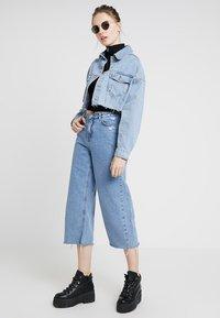 Topshop - HACKED OFF CROP - Denim jacket - blue denim - 1