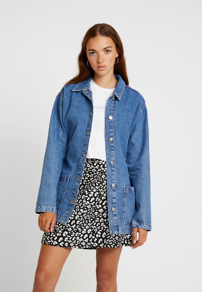 Topshop - BELTED SHACKET - Kurzmantel - blue denim