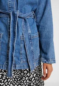 Topshop - BELTED SHACKET - Short coat - blue denim - 5