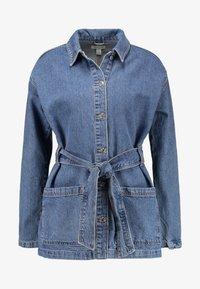 Topshop - BELTED SHACKET - Short coat - blue denim - 4