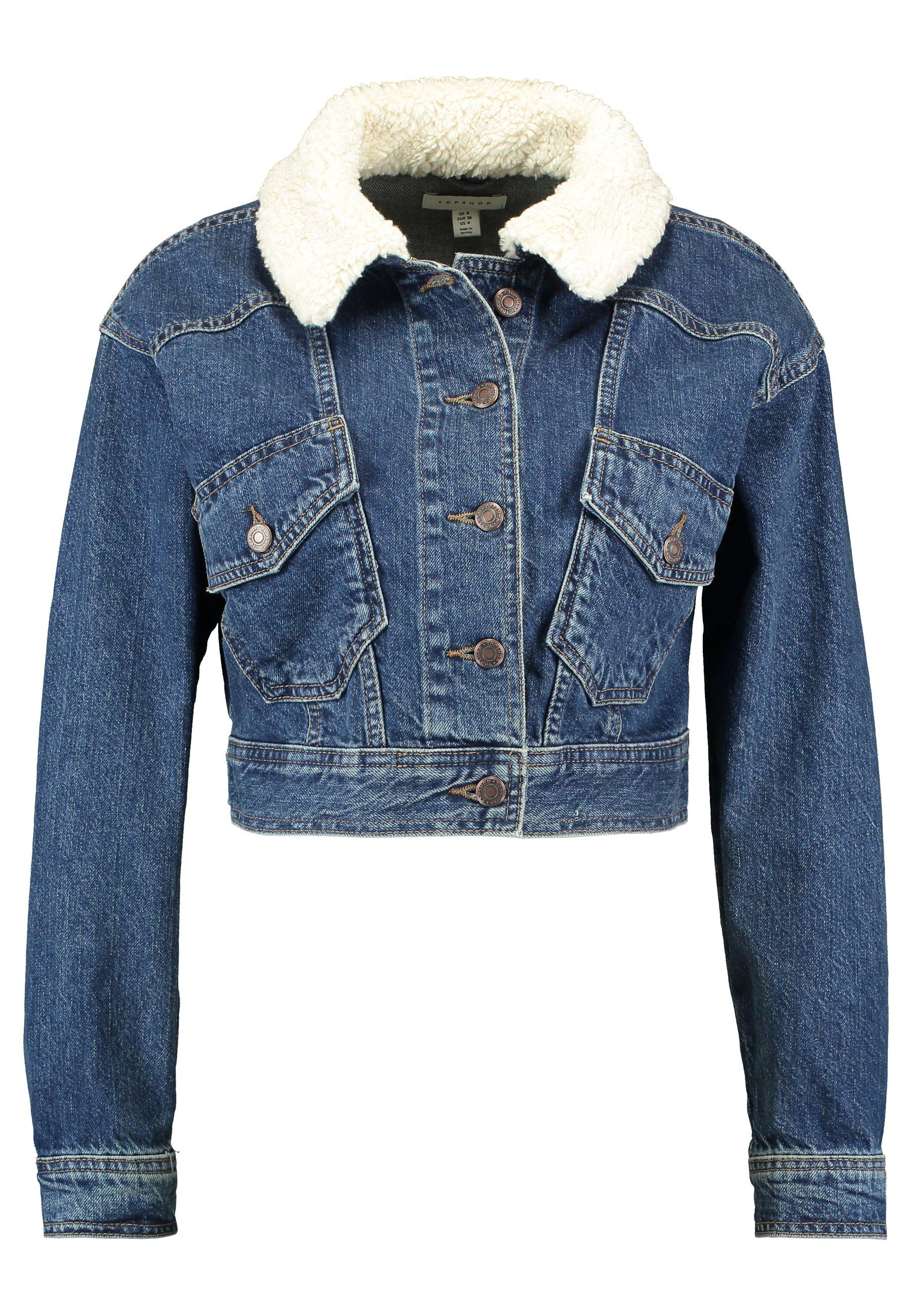 Topshop Crop Borg Jacket - Denim Blue UK