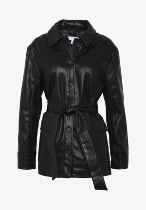 TIE SHACKET - Faux leather jacket - black