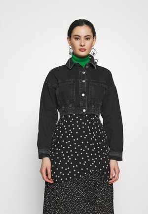 ELASTICATED CROP JACKET - Spijkerjas - black denim