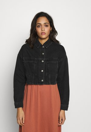 CROP JACKET - Veste en jean - black denim