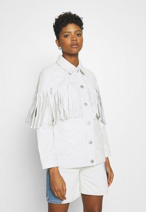 ROY FRINGE JACKET - Leren jas - white