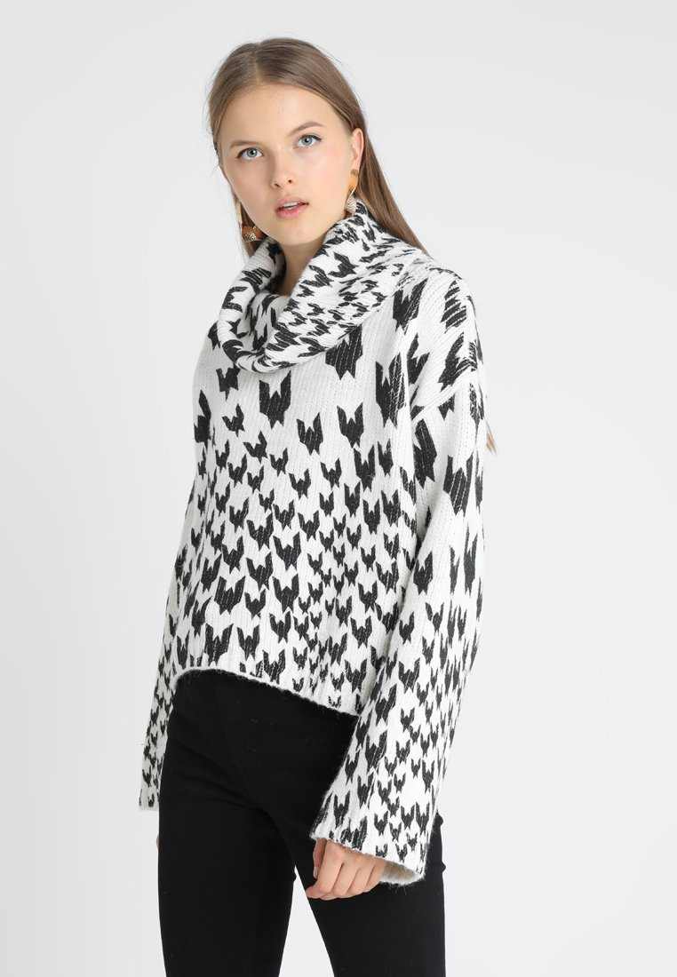 RollPullover Topshop Dogtooth Ivory Topshop Dogtooth Chunky Ivory RollPullover Chunky uXiPZk
