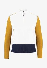 Topshop - ZIP BLOCK - Maglione - white/dark blue/mustard - 3