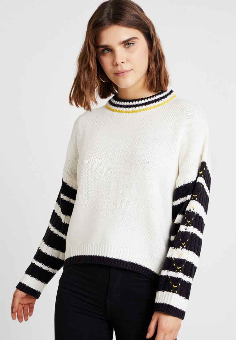 Topshop - NEW WHIPSTITCH JUMPER - Strickpullover - ivory