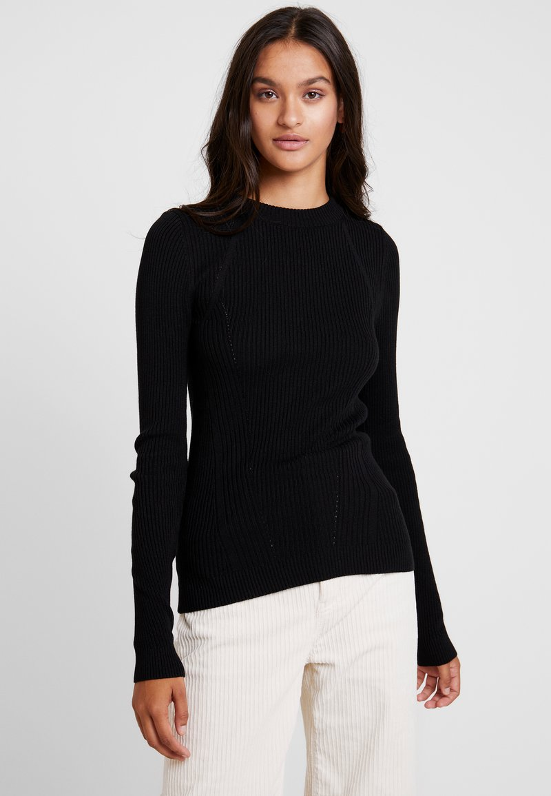 Topshop - BASIC DETAIL CREW - Sweter - black