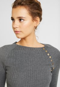 Topshop - BUTTON PLACKET FUNNEL - Maglione - grey - 3