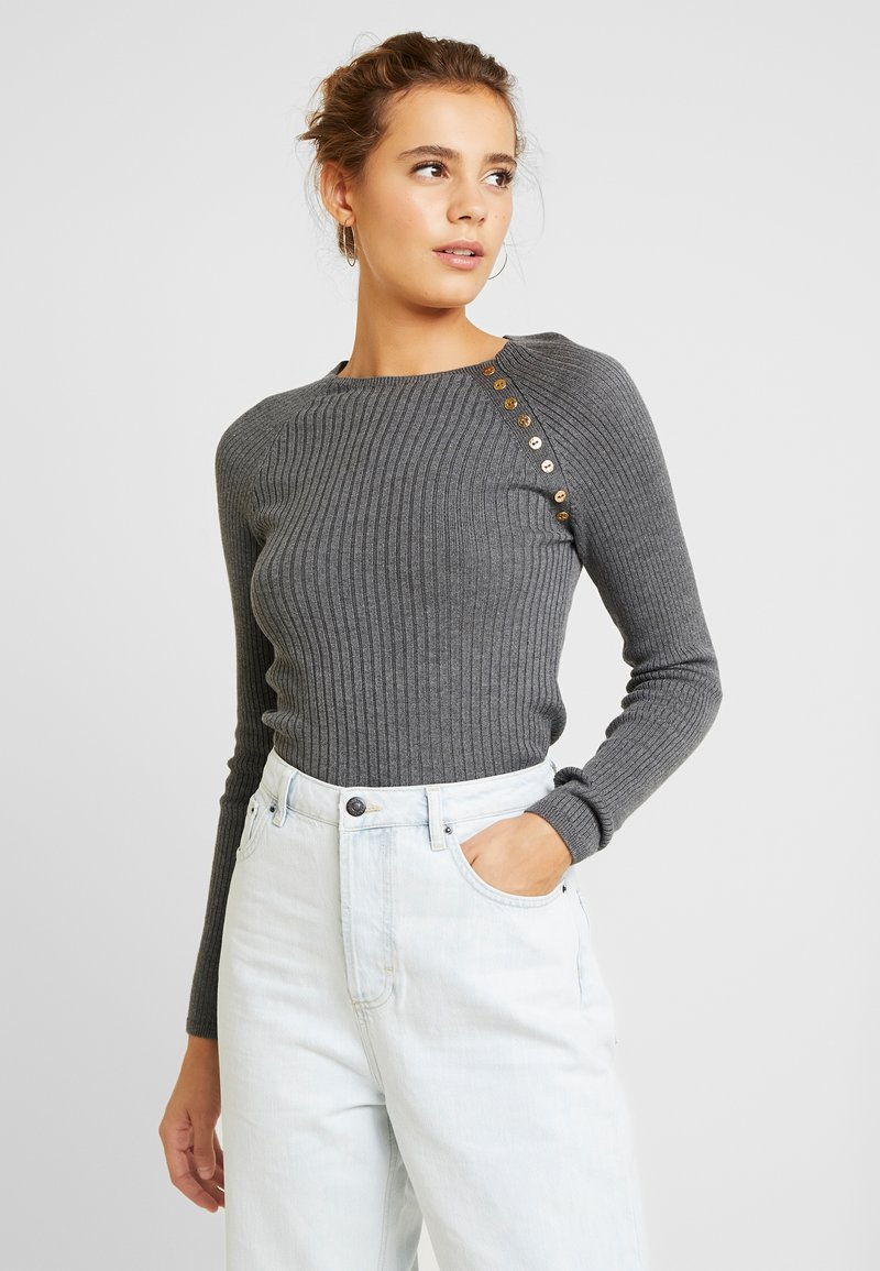 Topshop - BUTTON PLACKET FUNNEL - Maglione - grey
