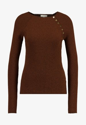 BUTTON PLACKET MODERN FUNNEL - Sweter - tobacco