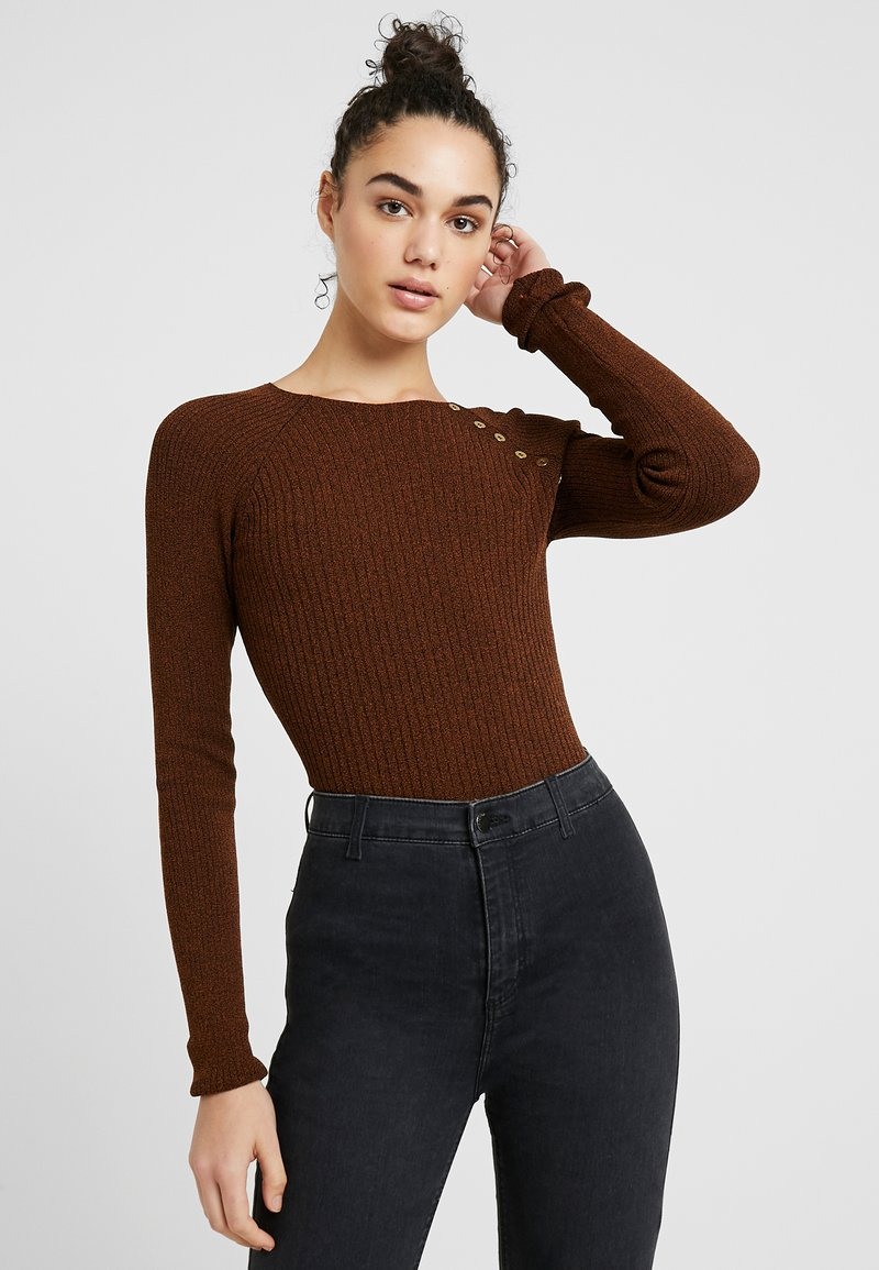Topshop - BUTTON PLACKET MODERN FUNNEL - Strikpullover /Striktrøjer - tobacco
