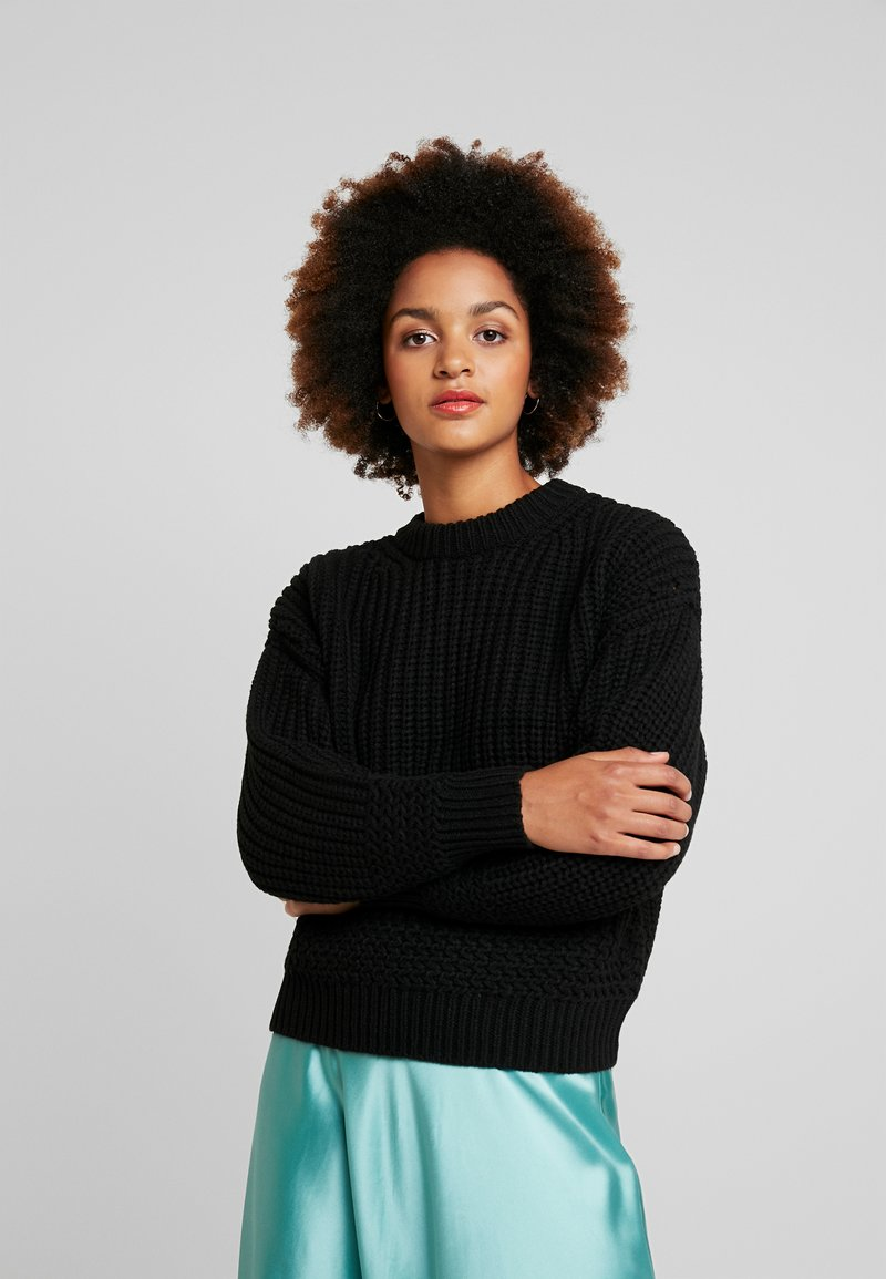Topshop - RECYCLED YARN STITCH - Sweter - black with neppy