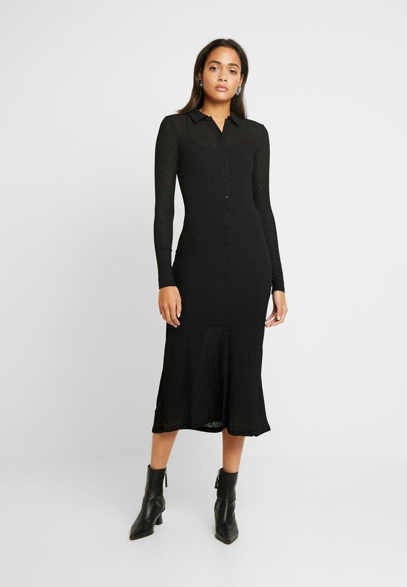 Topshop - CARDI MIDI - Košilové šaty - black