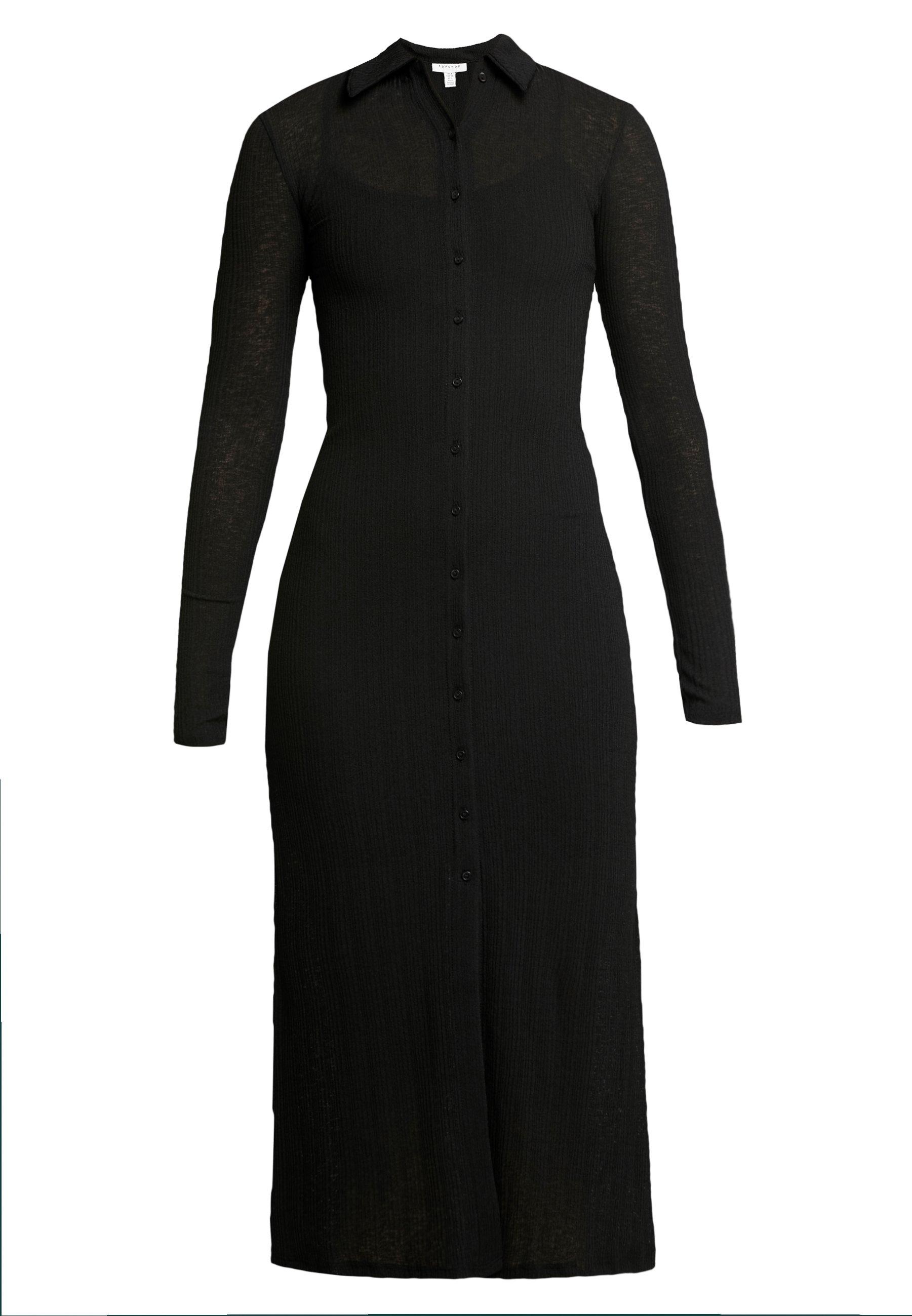 Topshop CARDI MIDI - Sukienka koszulowa - black
