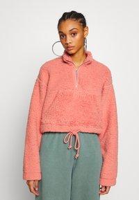 Topshop - BORG FUNNEL POCKET - Fleece trui - pink - 0