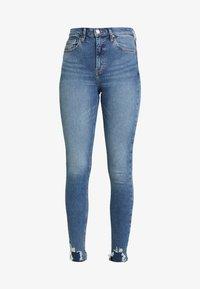 Topshop - JAGGED HEM JAMIE - Skinny džíny - blue denim - 4