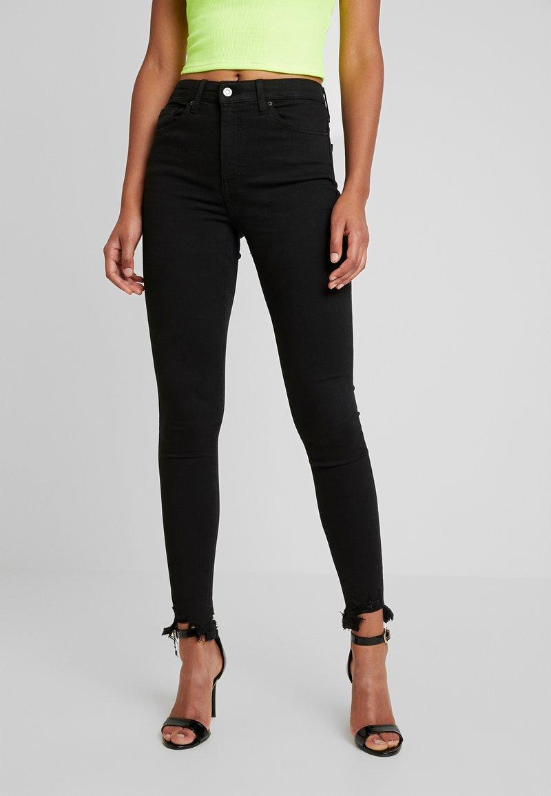 Topshop - JAGGED HEM JAMIE - Jeans Skinny Fit - black