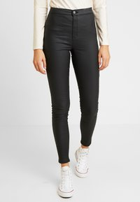 Topshop - COATED JONI - Trousers - black - 0