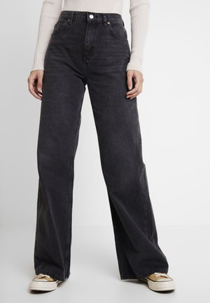 WIDE - Straight leg jeans - washed black