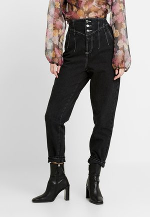 CORSET MOM - Jeans Tapered Fit - black denim