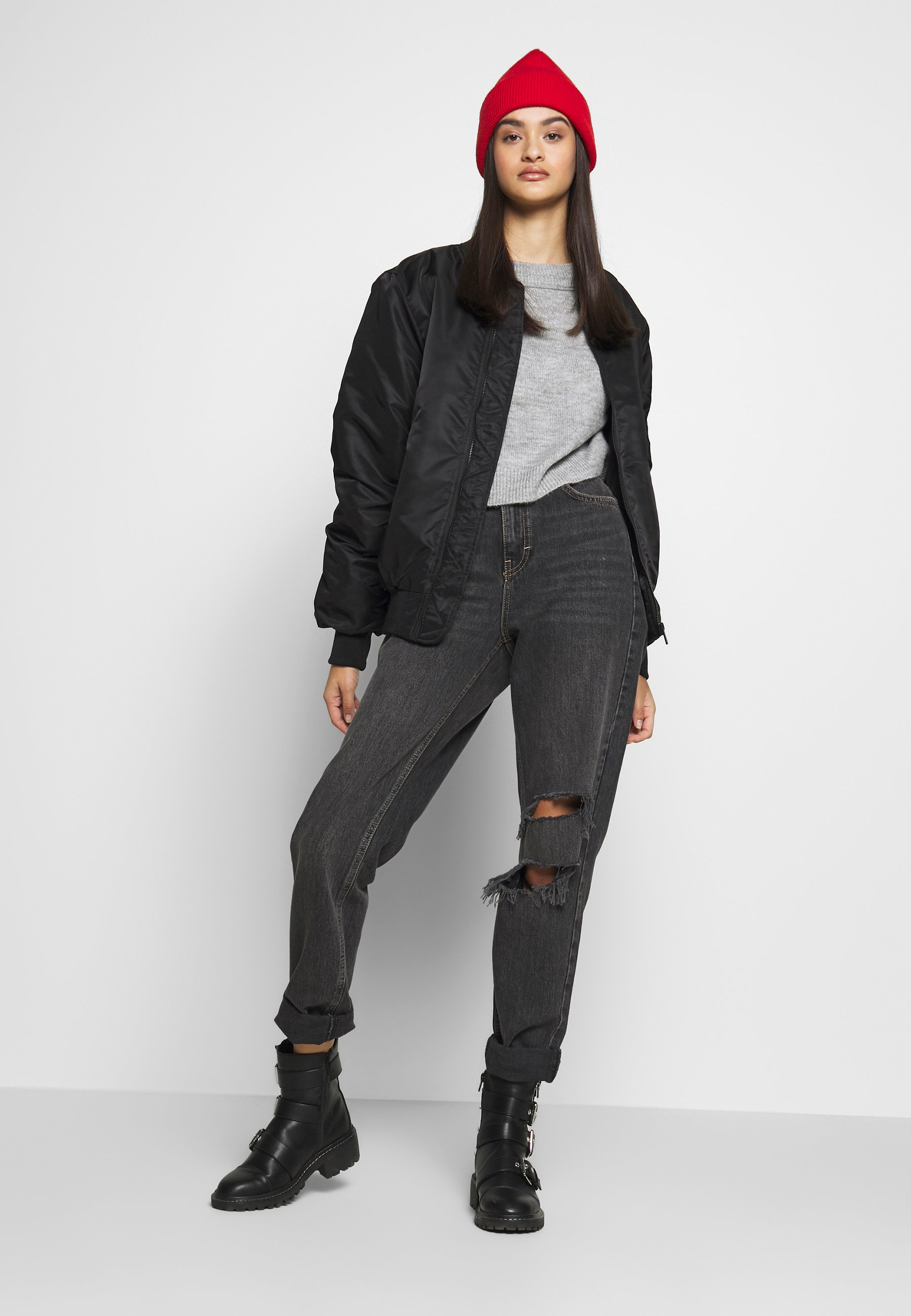 Topshop SEOUL RIP MOM - Jeansy Relaxed Fit - black