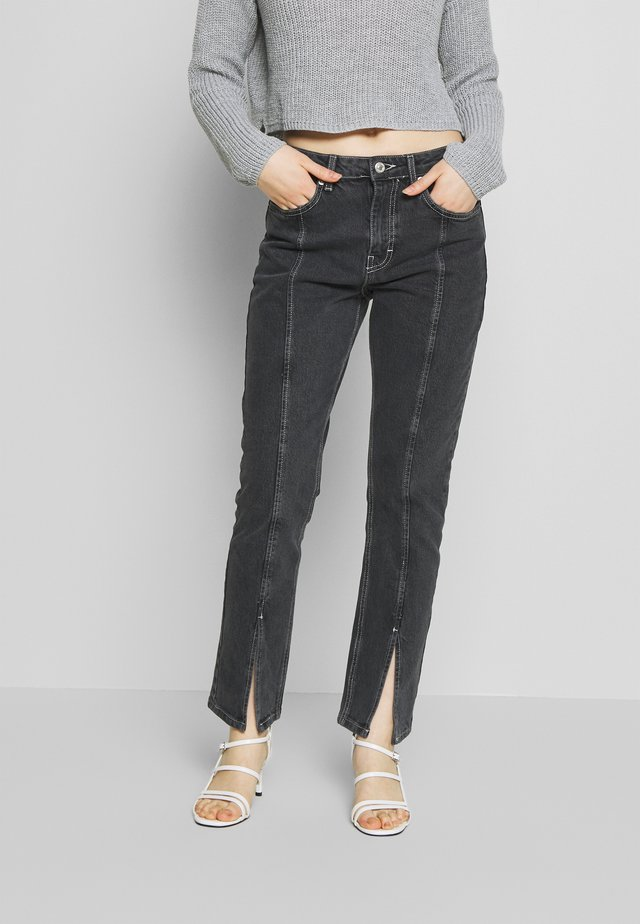 SPLIT HEM STRAIGHT - Jeans straight leg - washed black