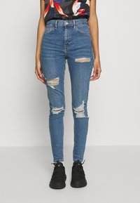 Topshop - SUPER RIP JAMIE - Jeansy Skinny Fit - blue denim - 0
