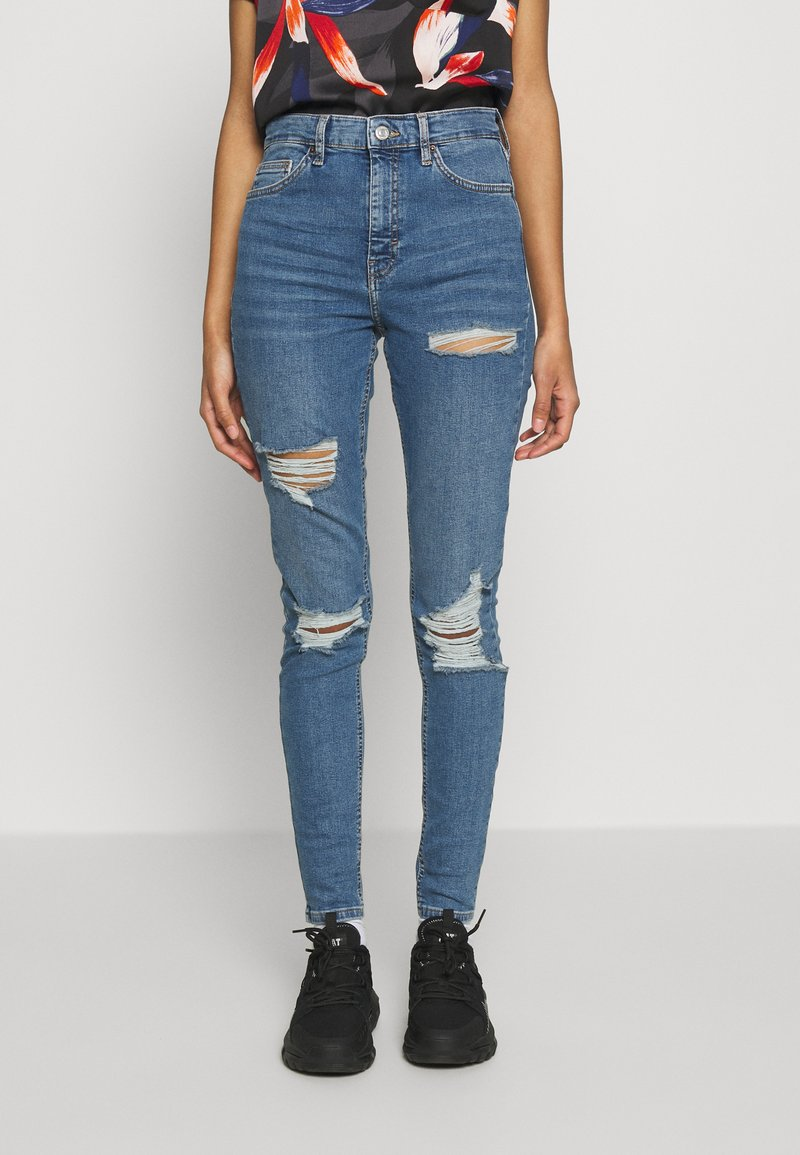 Topshop - SUPER RIP JAMIE - Jeansy Skinny Fit - blue denim