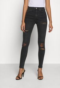 Topshop - SUPER RIP JAMIE - Jeansy Skinny Fit - washed black - 0