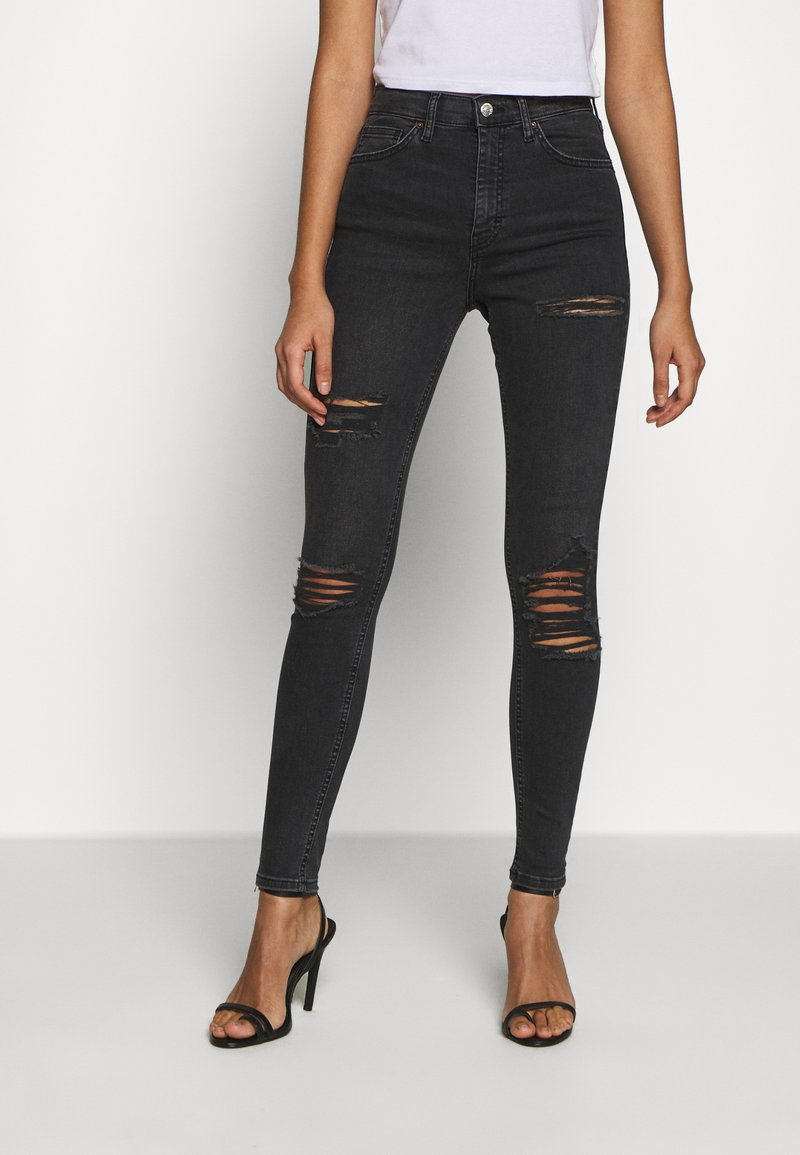 Topshop - SUPER RIP JAMIE - Jeansy Skinny Fit - washed black
