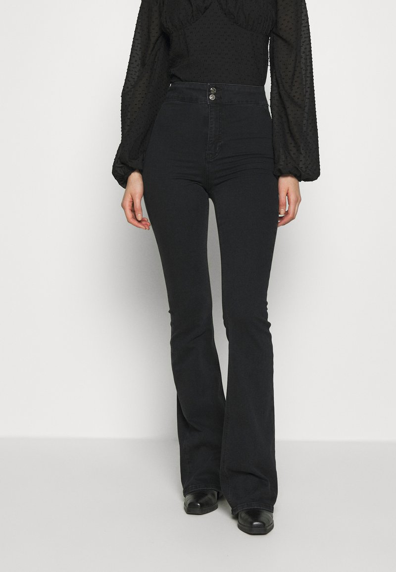 Topshop - ZED JONI - Flared Jeans - washed black