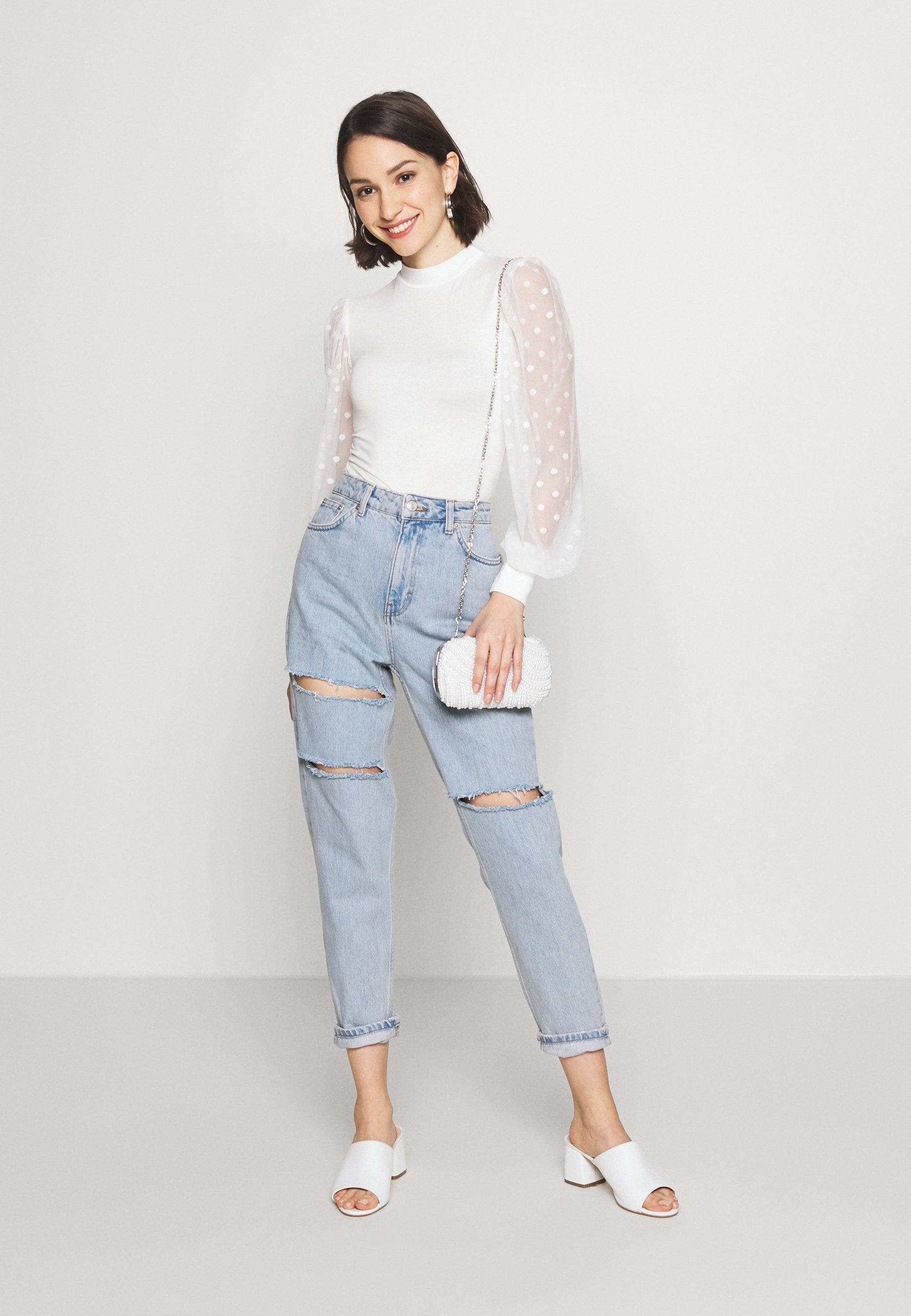 Topshop Sofia Rip Mom - Jeans Relaxed Fit Super Bleach Black Friday