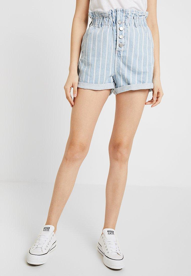 Topshop - STRIPE PAPERBAG - Shorts di jeans - blue denim