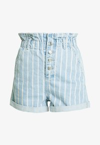 Topshop - STRIPE PAPERBAG - Shorts di jeans - blue denim - 3