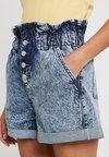 Topshop - ACID PAPERBAG - Denim shorts - blue denim