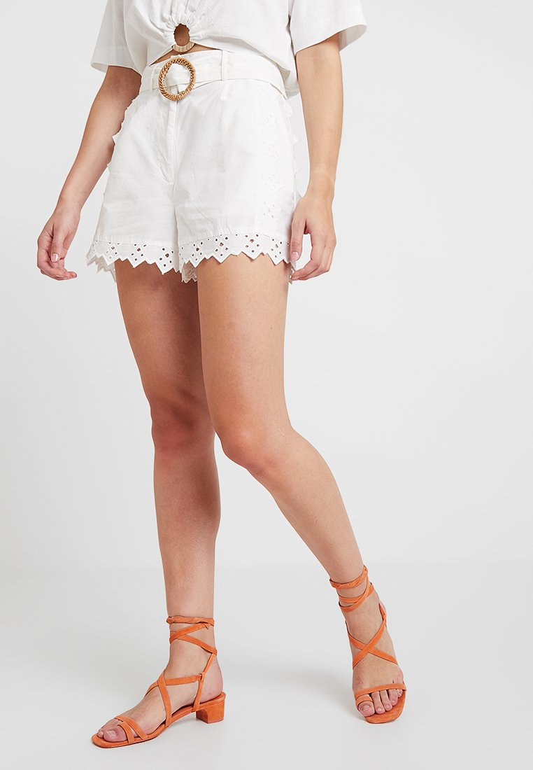 Topshop - BRODERIE TIE - Shorts - white