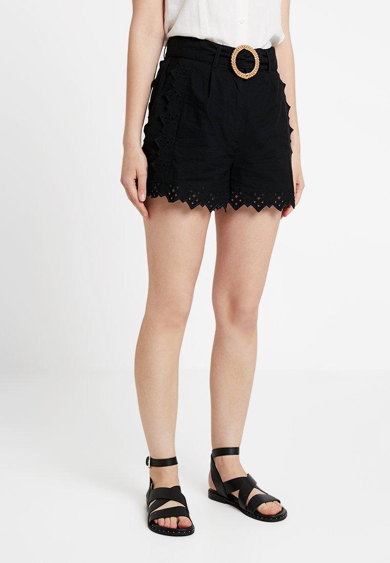 Topshop - BRODERIE TIE - Shorts - black