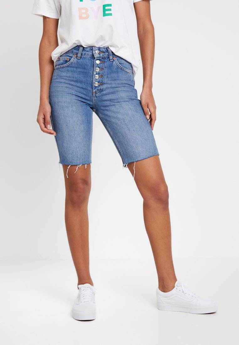 Topshop - BUTTON CYCLE - Denim shorts - blue denim