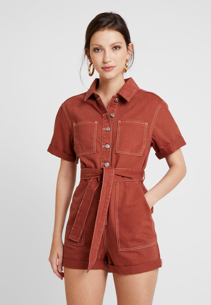 Topshop - BUTTON ROMPER - Jumpsuit - rust