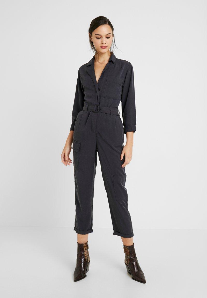 Topshop - LONG SLEEVE ALEXA BOILER - Jumpsuit - washed black