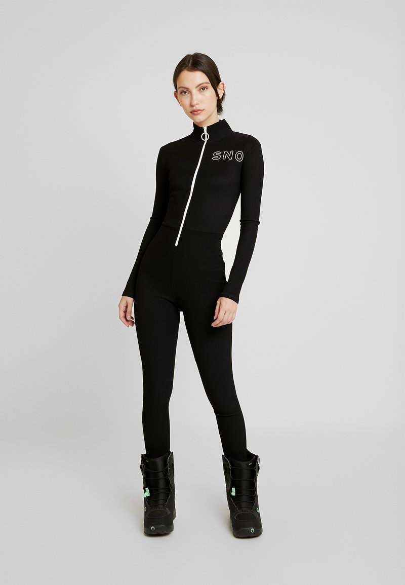 Topshop - THERMAL ALL IN ONE - Jumpsuit - black