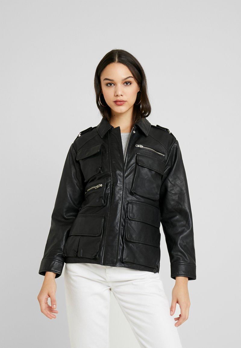Topshop - JOAN JACKET - Leather jacket - black