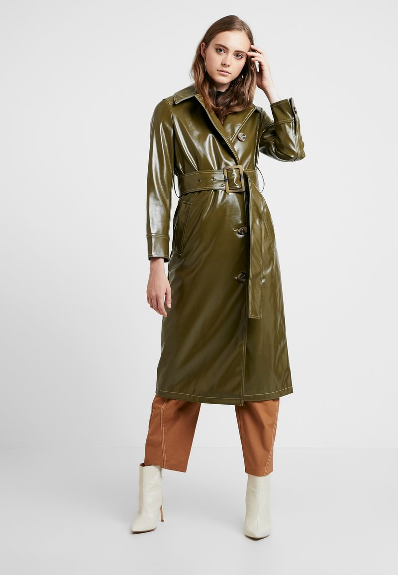 Topshop - CONTRAST STITCH - Trench - olive