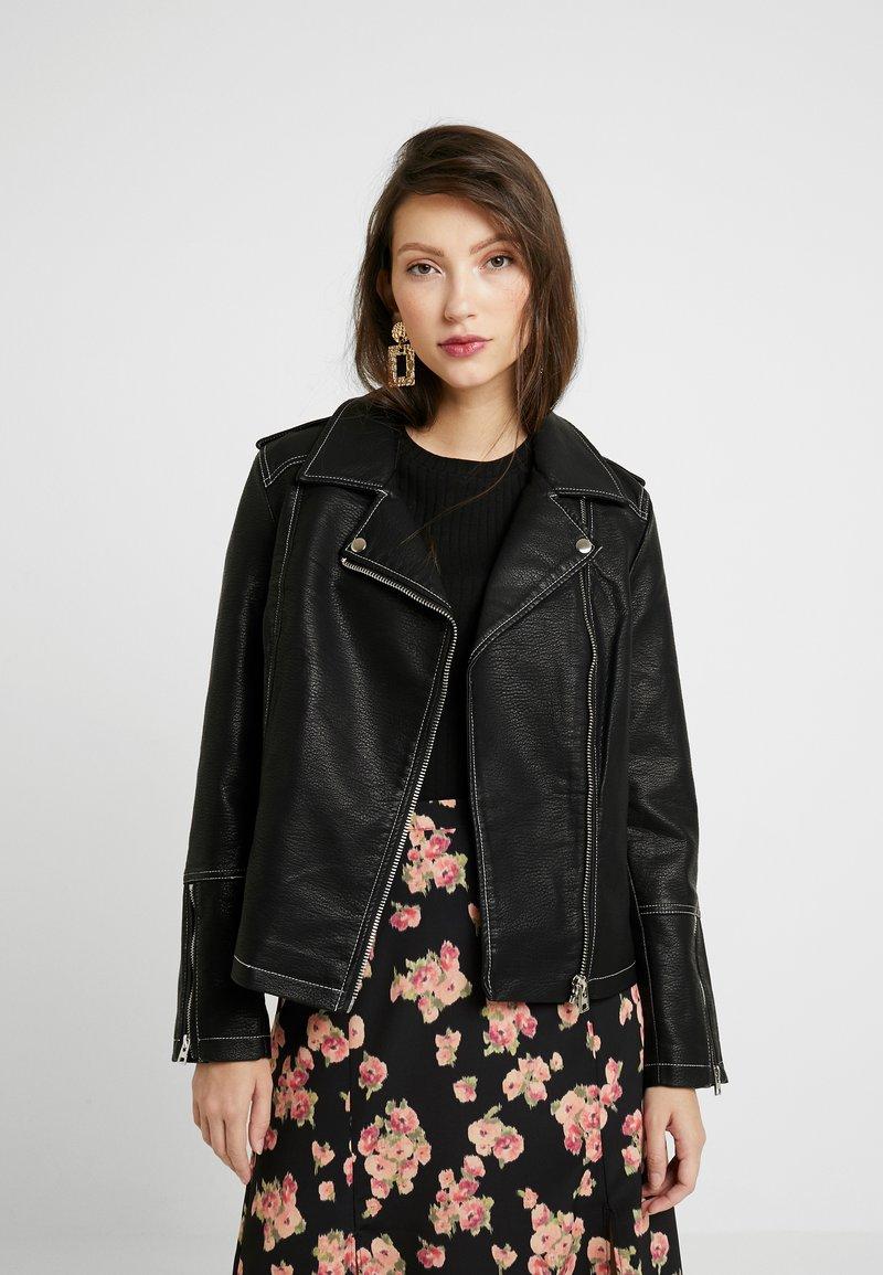 Topshop - Imitatieleren jas - black