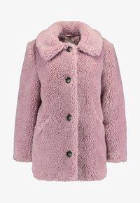 Topshop - BEEBEE BUTTON FRONT BORG - Zimní kabát - dusty pink - 4