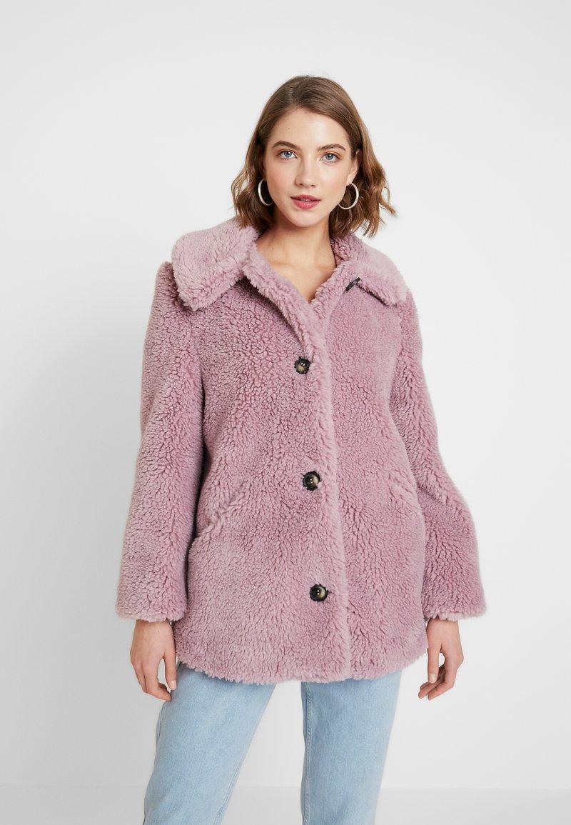Topshop - BEEBEE BUTTON FRONT BORG - Zimní kabát - dusty pink