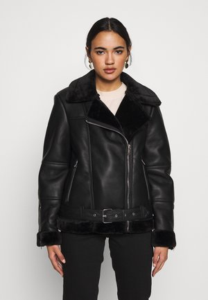 CORA BIKER - Faux leather jacket - black