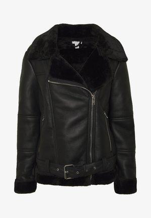 CORA BIKER - Faux leather jacket - black